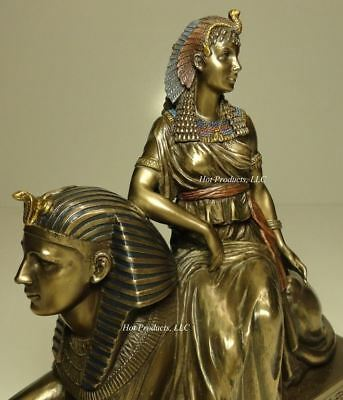 EGYPTIAN QUEEN CLEOPATRA SITTING ON SPHINX Statue / Sculpture Bronze Finish