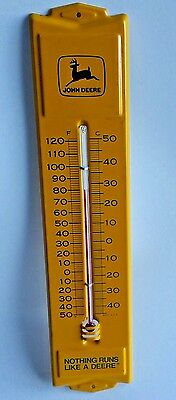 "Vtg. JOHN DEERE 13"" Metal Outdoor Yellow THERMOMETER Advertising Sign  Tested"