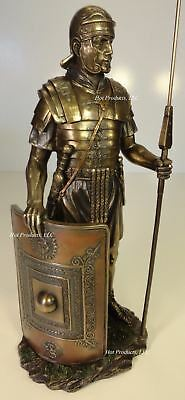 ANCIENT TIMES ROMAN LEGION SOLDIER JAVELIN SHIELD Sculpture Statue Bronze Finish