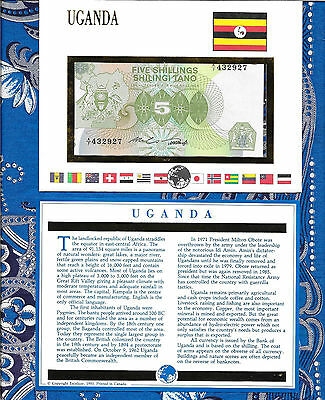 E Banknotes of All Nations Uganda 1982 5 shillings P15 UNC A/7 432927