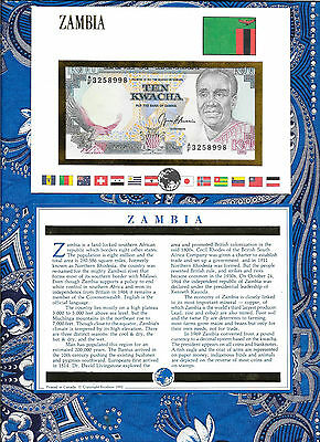 E Banknotes of All Nations Zambia 1989-91 10 Kwacha P31b sign 9 UNC A/F 3258998