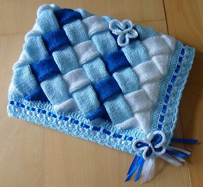 UNIQUE Hand Knitted & Crocheted Baby Blanket with Butterflies - Blues & White