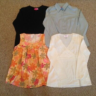 Casual maternity Top Bundle - Size M (Liz Lange, Oh Baby, Two Hearts - 4 Pieces)