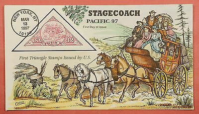 1997 #3131 Pacific 97 Stagecoach 32C Fdc Collins Hand Painted Cachet Cover