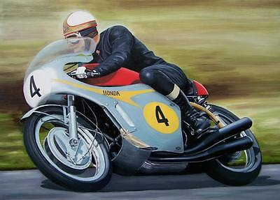 Mike Hailwood LARGE Canvas 30x20 VERY RARE Isle of Man TT Honda Framed Picture