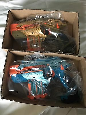 Hasbro Nerf Lazer Tag Phoenix LTX Set Of 2 Gold And Blue Laser Guns Age 8+