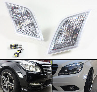 08-11 Mercedes Benz W204 Euro Clear Side Marker Lamps Light+ Error Free Led Bulb