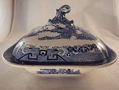 Vintage Blue & White Willow Pattern Square Lidded Tureen VGC