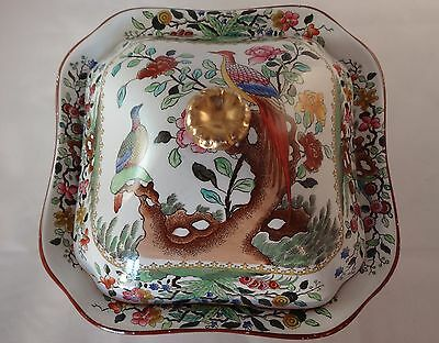 Copeland Spode T Goode & Co Asiatic Pheasant Square Lidded Tureen Serving Dish