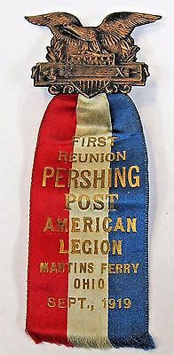 1919 AMERICAN LEGION MARTIN'S FERRY OHIO 1st Reunion medal badge pinback +