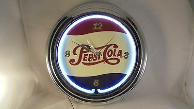 "Vintage style 15"" round lighted Pepsi-Cola clock battery and AC power cord incld"