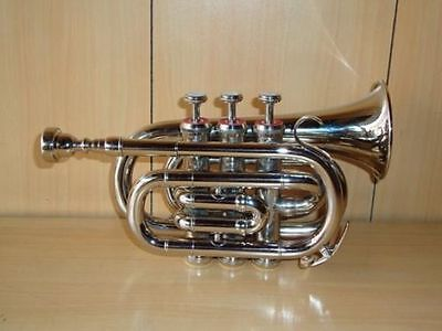 **DIRECTOR BAND APPROVED! SILVER FINISH Bb Flat POCKET TRUMPET+W/CASE+MOUTHPIECE