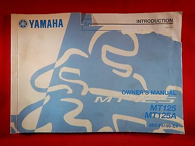 Genuine 2014 Yamaha Mt-125 Mt125A Owners Manual 5D7-F8199-E4 2015 Mt 125 A