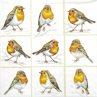 4x Single Paper Napkins -Robins Family- for Party, Decoupage