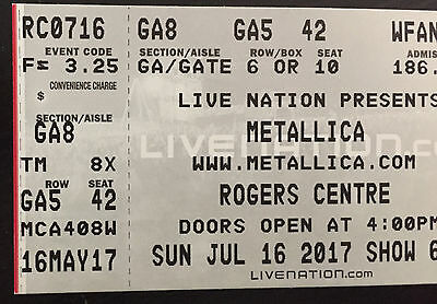General Admission Floor Single Ticket to Metallica in Toronto on July 16, 2017