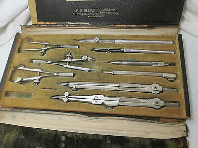 Antique Drawing/Drafting Set Germany B K Elliott Co. Cleveland Pittsburgh w/Case