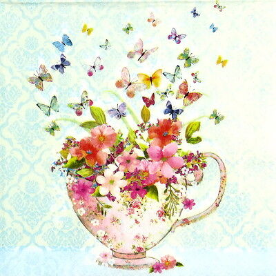 4x Paper Napkins -Cup of Flowers- for Party, Decoupage Craft