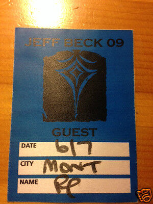 """JEFF BECK """"Guest""""  Backstage Pass never used"""