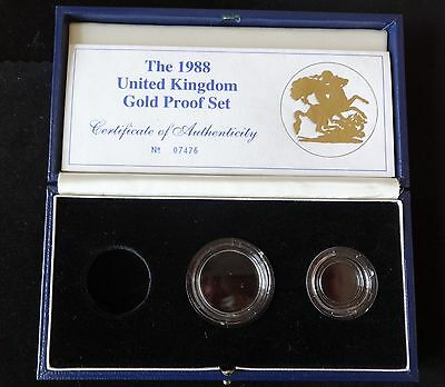 1988 Royal Mint Gold Proof Sovereign 3 Coin Box + Coa 2 X Capsules  No Coin's