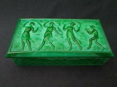Art Deco Heinrich Hoffman Malachite Jade Green Figural Glass Box Butterfly Mark