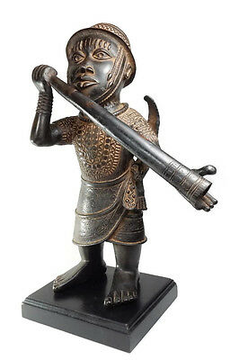 African Tribal Antique Benin Cast Bronze Royal Court Messenger Sculpture