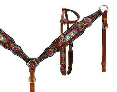 Showman Leather Headstall and breast collar Set with Mulit Colored Beaded Inlay!
