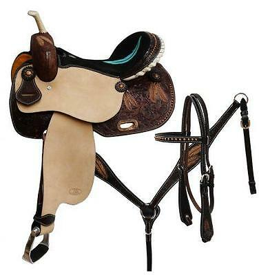 """15"""" CIRCLE S 5PC PACKAGE Barrel Saddle Set With Feather Tooling on skirt!"""