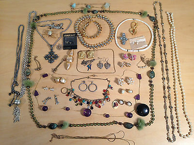 Costume Jewellery Women Girls Necklaces Broochs Earrings Mixed Lot *New and Used