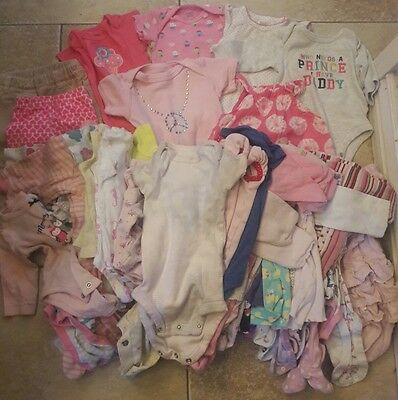 Huge Lot 54 Items Baby Girl 0-3 Months Newborn Infant Clothes Clothing Mixed Lot