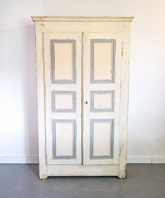 Wood Painted French Armoire Wardrobe Original Antique Vintage