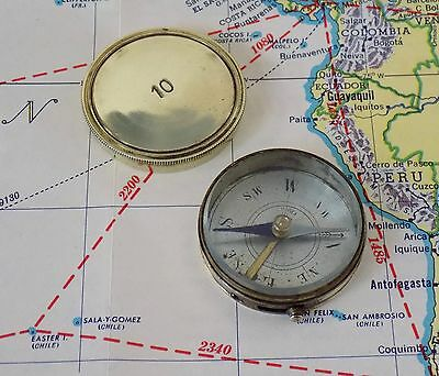Vintage Antique French Brass Pocket Compass, Stamped 10,  Made In France,