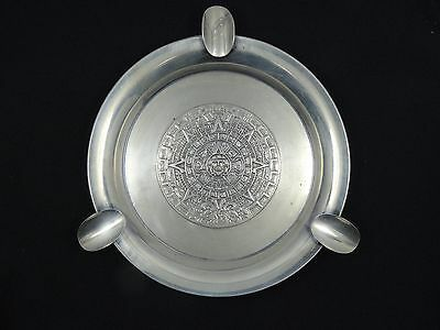 "VINTAGE TAXCO MEXICO STERLING ASHTRAY w/ AZTEC MAYAN SUN CALENDAR 4.5"" / 53.6g"