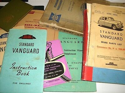 Standard Vanguard Manuals, instruction books and Parts Books Collection