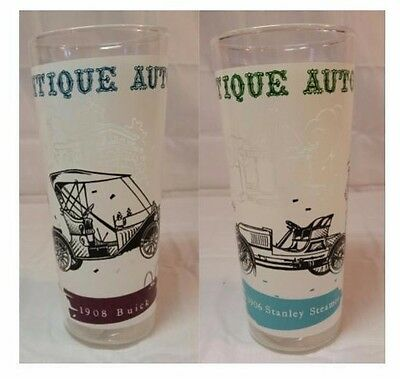 Vintage Antique Auto Glass Tumblers ~ 1906 Stanley Steamer & 1909 Buick