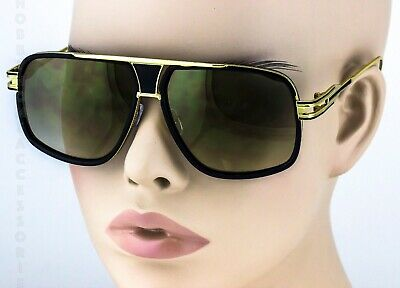 c9325cc972f2 New MENS DMC Square GAZELLE Style Gold Shades Fashion Club Mirrored  Sunglasses