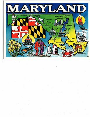 Unused 4x6 Postcard - Colorful map of Maryland
