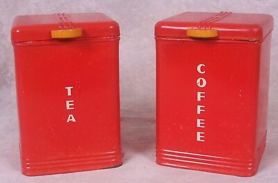Vintage Set of 2 Red Kreamer Tin Kitchen Canisters Bakelite Knobs Coffee & Tea