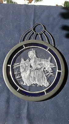 Silky Terrier- Awsome Combination Hand Engraving and Stained Glass by Ingrid