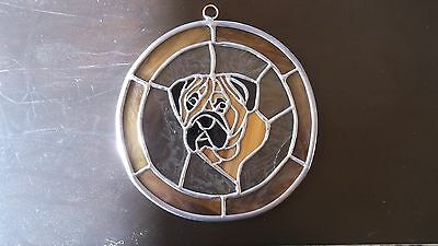 Bullmastiff- Very impressive Original Stained Glass   by Ingrid Jonsson
