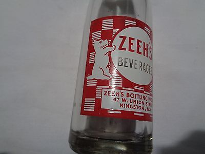 Vintage 7 Oz pop bottle ZEEH'S with Scottie scotty dog red & white Kingston N.Y.