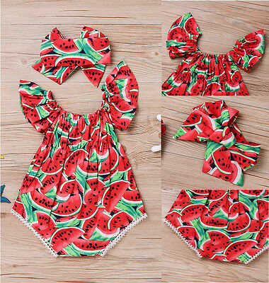UK Stock Toddler Baby Girls Watermelon Romper Jumpsuit Headband Outfits Clothes