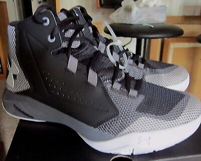 Under Armour Youth Boys 6.5 Black Gray White BGS Torch Fade Shoes