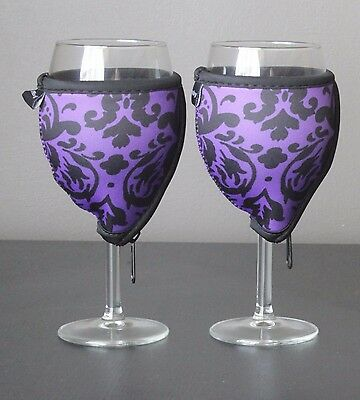 Purple Vintage wine glass coolers x 2