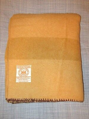 EUC Rare Vintage Hudsons Bay 3.5 Point Blanket Gold All Wool Made In England HBC
