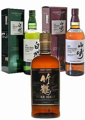 Suntory Yamazaki Boxed,Hakushu Boxed,Nikka Whisky Pure Malt Japanese Whisky Pack