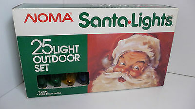 Vintage Outdoor NOMA Santa Lights 25 Assorted Coloured Bulbs in UNUSED Condition