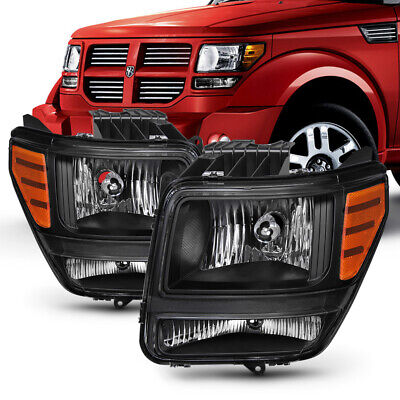 2007-2011 Dodge Nitro [Factory Style] Black Housing Headlights Replacement Lamps