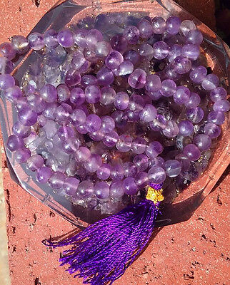 Artisan Handmade Amethyst Gemstone Japa Mala Necklace, 108 Prayer Beads