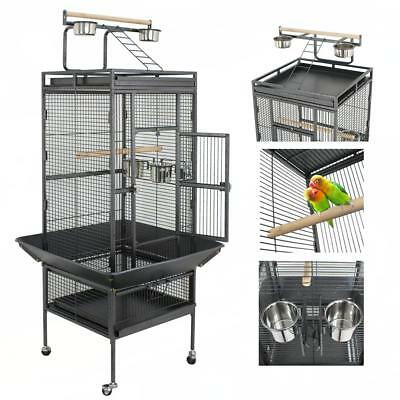 Black Bird Cage Large Play Top Parrot Finch Cage Macaw Cockatoo Pet Supplies