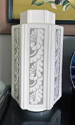 Art Deco Skyscraper Milk Glass Stencil Gray/Whte Ceiling Lamp Shade - Repaired